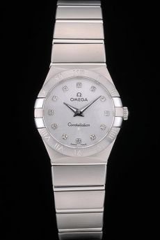 Swiss Lady Omega Constellation Edelstahl-Armband Silber 80290 Dial